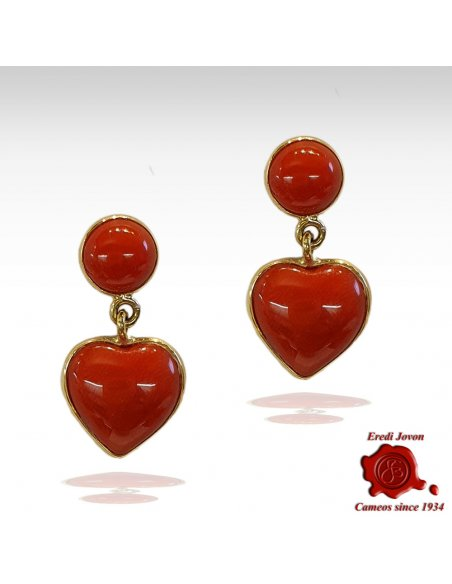 Heart Shaped Red Coral Dangle Earrings in Gold