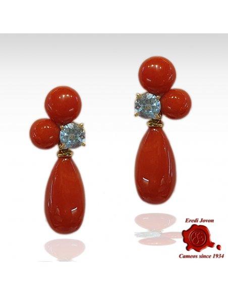 Dangle Red Coral Blue Topaz Earrings