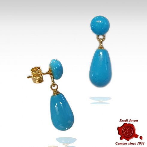 Drop Turquoise Earrings Dangle Gold