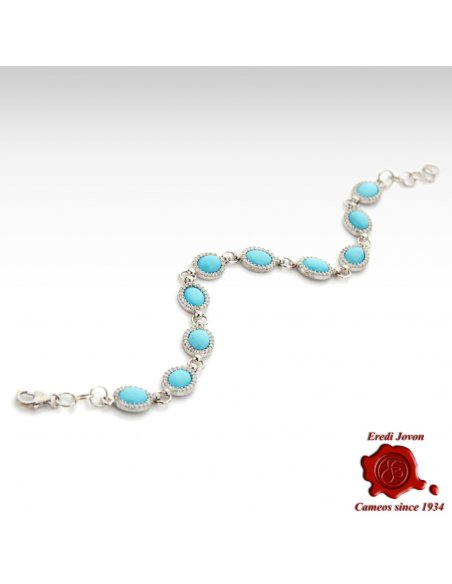 Turquoise Silver Bracelet with Zirconia
