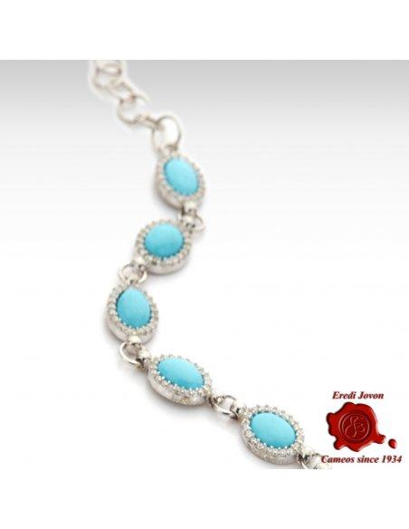 Turquoise Silver Bracelet with Zirconia