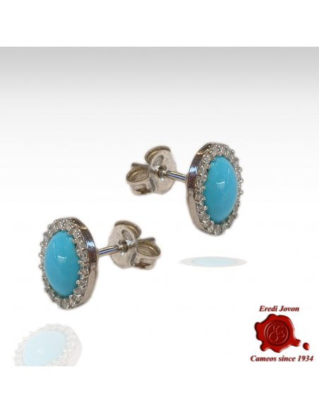 Earrings Turquoise and Zirconia Studs