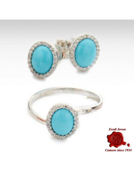 Turquoise And Zirconia Ring