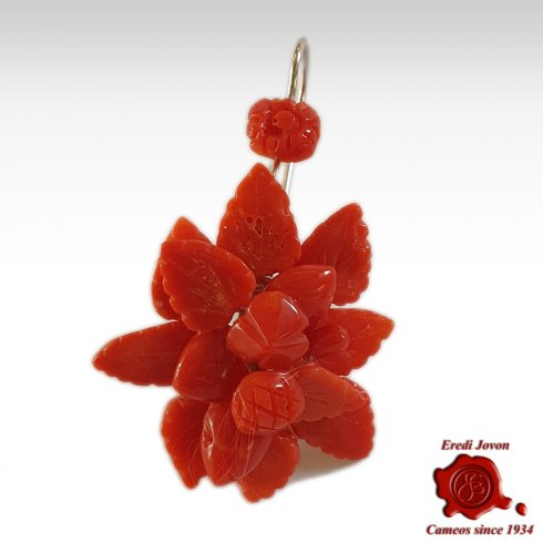 Antique Coral Earrings Flowers and Fruits