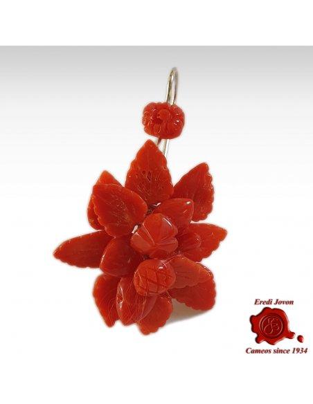 Orecchini Corallo Pendenti Fiori Frutti