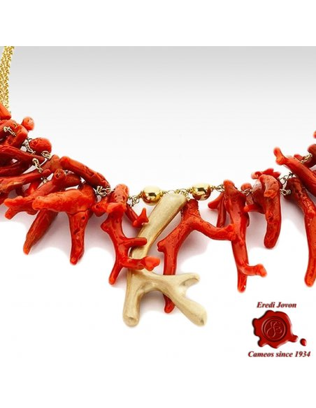 Red Coral Branch and Golden Beads Necklace