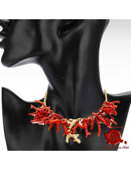 Collana Rami in Corallo Rosso e Inserti Dorati