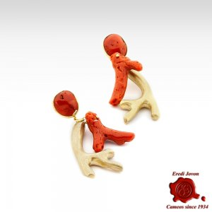 Red Coral Branch Earrings...