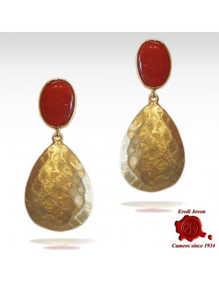 Red Coral Golden Drop Earrings