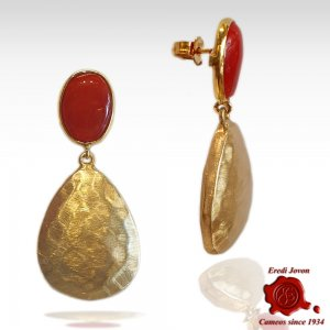 Red Coral Golden Drop Earrings