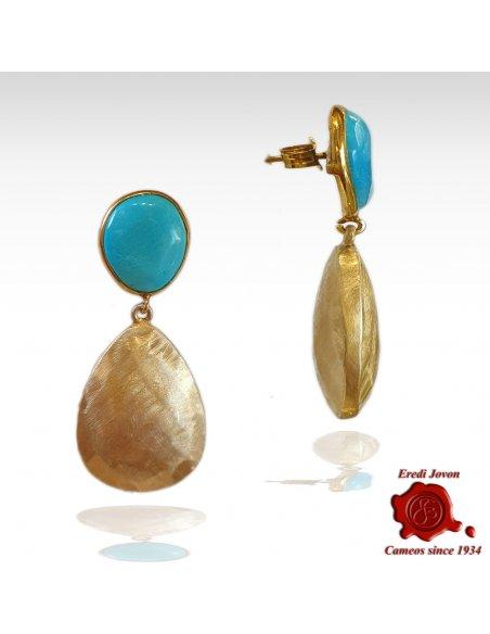Turquoise Golden Drop Earrings