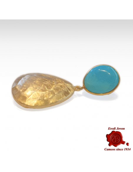 Turquoise Golden Drop Earrings