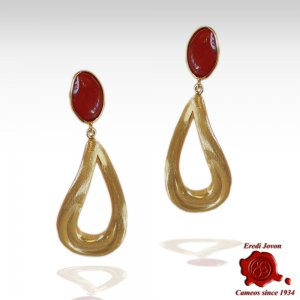 Red Coral Earrings with...