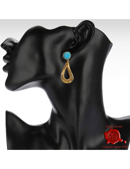 Turquoise Earrings with Golden Drop