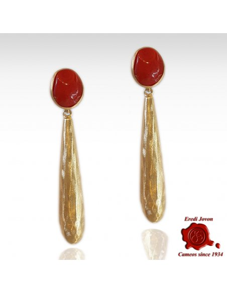 Red Coral Earrings Long Golden Drop
