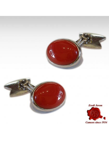 Red Coral Cufflinks White Gold