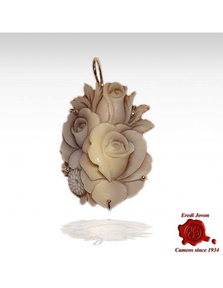 Shell Sardonica cameo flower earrings Sfioccato
