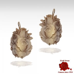 Shell Sardonica cameo flower earrings Sfioccato