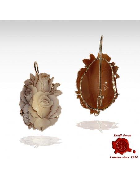 Orecchini cammeo Sardonico fiore conchiglia Sfioccato