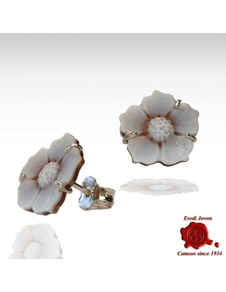 Orecchini cammeo Sardonico fiore argento Sfioccato