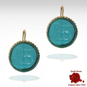 Saint Mark Lion Intaglio Earrings Dangle