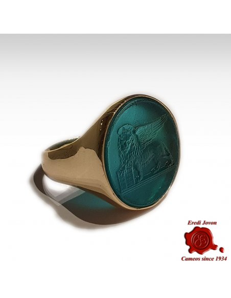 Ring Winged Lion Glass Intaglio