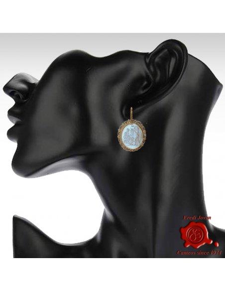 Intaglio Earrings Gold Cameo Venus and Eros