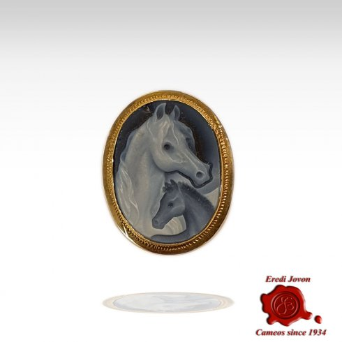 Horse & Baby Cameo Brooch Gold