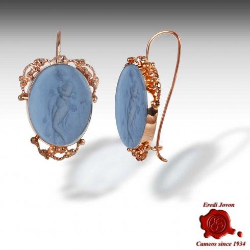 Glass Intaglio Dangle Earrings Filigree Set