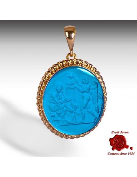 Intaglio Cameo Pendant Gold Blue