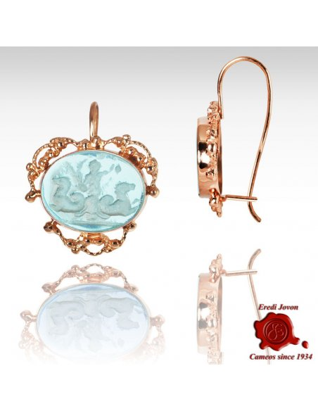 Rose Gold Intaglio Earrings Filigree Set