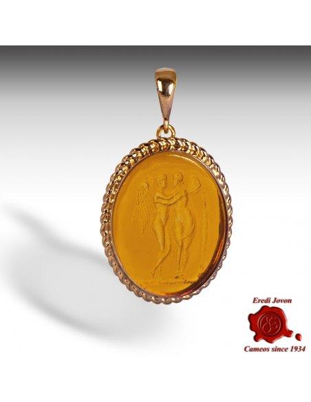 Antique Intaglio Pendant Gold  Love & Psyche