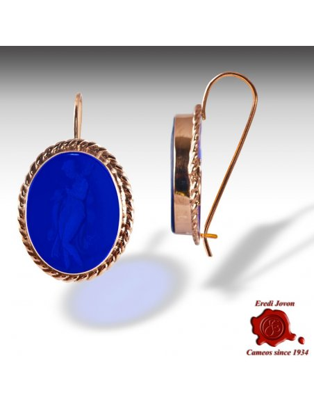 Gold Intaglio Earrings with Cameos in Blue Glass