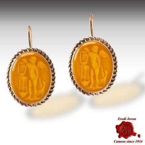 Amber Intaglios Gold Earrings Dangle