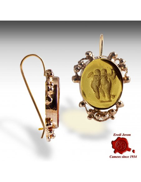 Gold Intaglio Venetian Glass Earrings - Amber