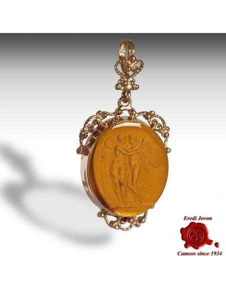 Gold Intaglio Cameo Pendant Amber