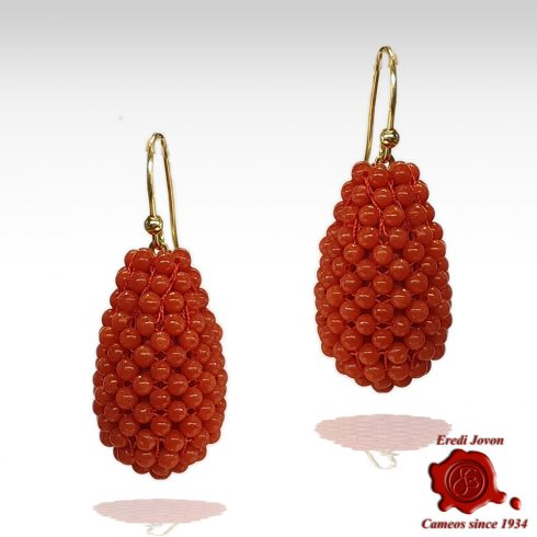 Red Coral Tessito Dangle Earrings Gold