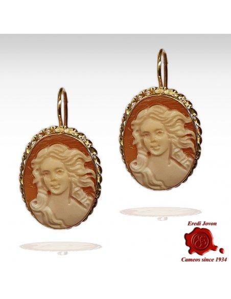 Birth of Venus Cameo Earrings Gold
