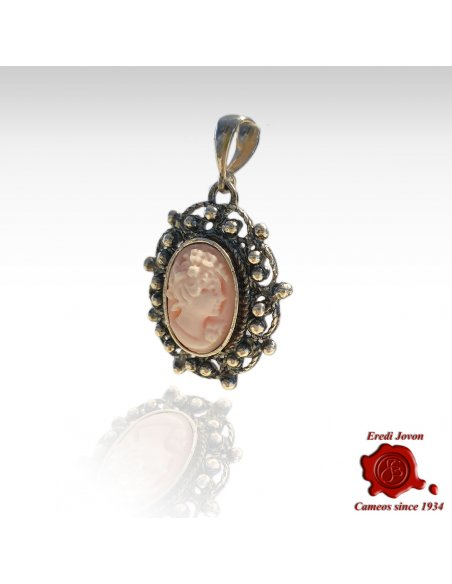 Pink Cameo Pendant with Antique Silver Filigree