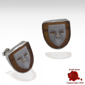 Venetian Mask Cameo Earrings Silver