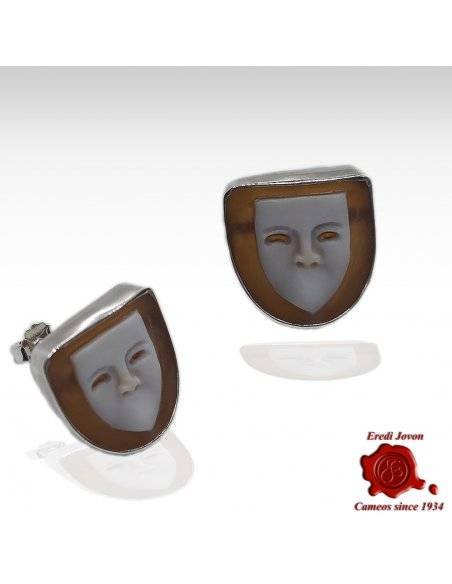 Venetian Mask Cameo Earrings Silver