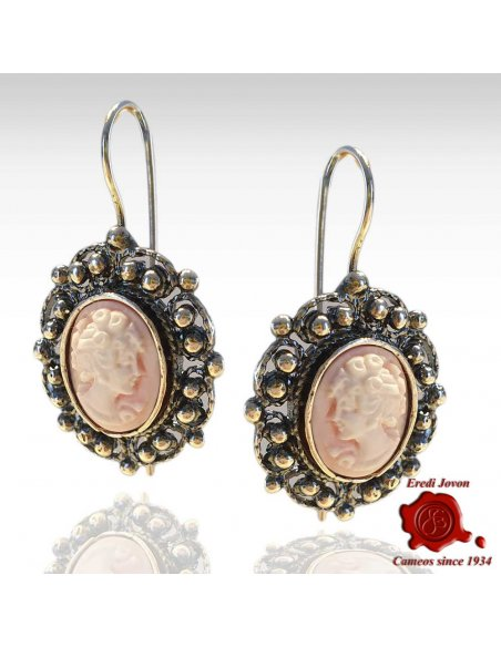 Pink Cameo Earrings with Antique Silver Filigree