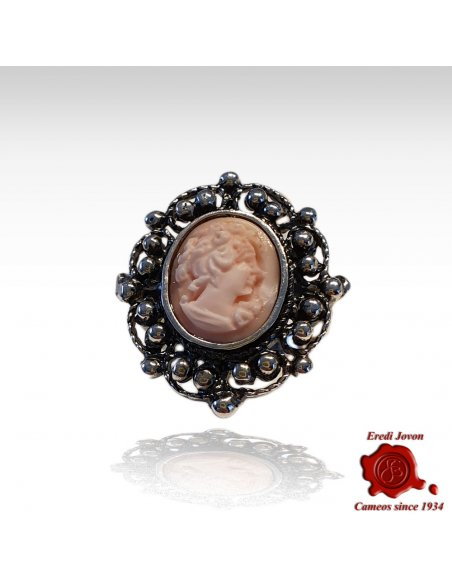 Pink Cameo Ring with Antique Silver Filigree