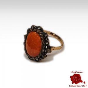 Corallo Rosso Anello Stile Antico