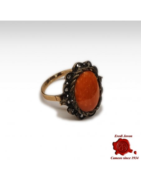 Antique Red Coral Ring with Diamonds