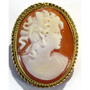 Shell Cameo Antique Arte Deco Gold
