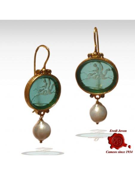 Intaglio Venetian Glass Earrings with Pearls