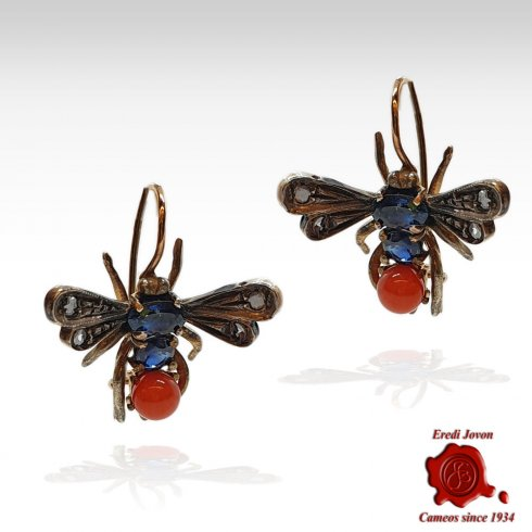 Antique Dragonfly  Drop Earrings in Gold