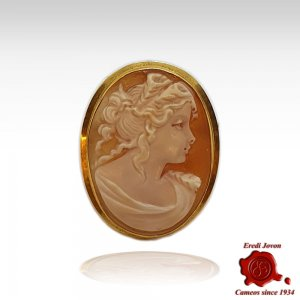 18 kt Gold Cameo Brooch and Pendant Flora