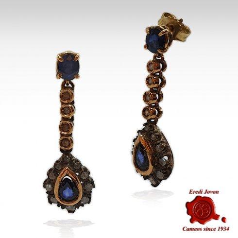 Orecchini Zaffiro con Diamanti Vintage